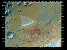 This false-color map shows the area<br /> within Gale Crater on Mars, where<br /> NASA&#39;s Curiosity rover landed on<br /> Aug. 5, 2012 PDT (Aug. 6, 2012 EDT)<br /> and the location where Curiosity<br /> collected its first drilled sample at<br /> the &quot;John Klein&quot; rock.<br /> Image credit: NASA/JPL-Caltech/MSSS&nbsp;&nbsp;<br /> <a href='http://www.nasa.gov/mission_pages/msl/multimedia/pia16832.html' class='bbc_url' title='External link' rel='nofollow external'>&#8250; Full image and caption</a>